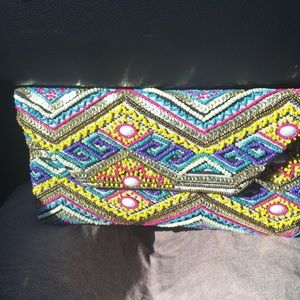 Beaded clutch with small thin chain for crossbody